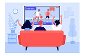istock Back view of friends watching basketball on TV 1316730277