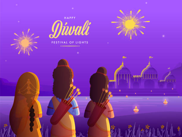 Back View of Lord Rama with His Wife Sita and Brother Laxman on Decorative Ayodhya Background for Happy Diwali Celebration. vector art illustration