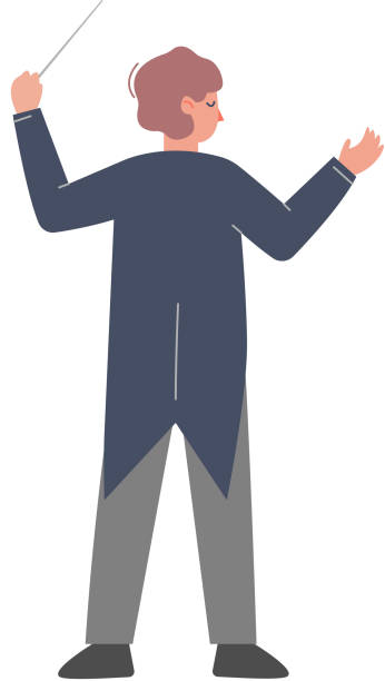 illustrazioni stock, clip art, cartoni animati e icone di tendenza di back view of man conductor on stage, musician directing classic instrumental symphony orchestra flat style vector illustration - orchestra conductor top view