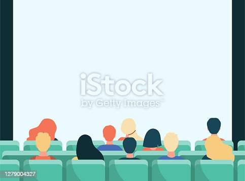 Back view of people in movie theater flat vector illustration. Cartoon crowd sitting in rows and waiting for premiere in cinema. Entertainment and performance concept