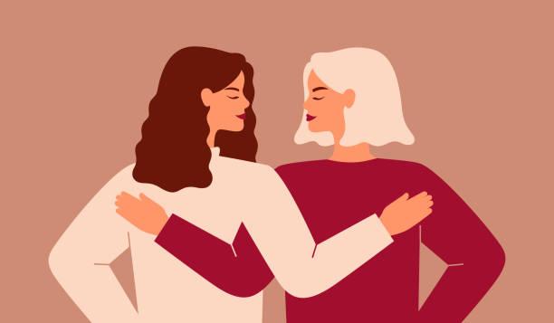お互いを支え合う2人の強い女性のバックビュー。 - 友情点のイラスト素材/クリップアート素材/マンガ素材/アイコン素材