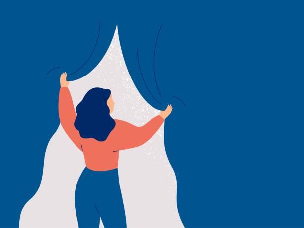 widok kobiety otwiera kurtynę i widzi światło. - nadzieja stock illustrations