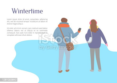 Walking friends outdoor in wintertime, back view. Man and woman going and speaking in scarf and jacket and in earmuffs, papercard with text vector