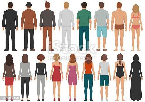 istock back view people group, man, woman standing characters, business  isolated person 921350466