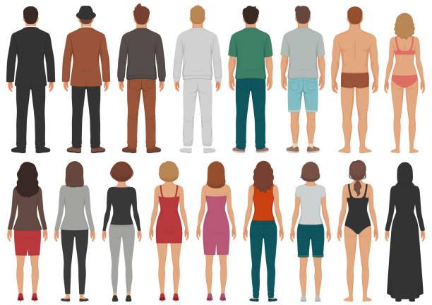 wstecz widok ludzie grupa, mężczyzna, kobieta stojąca znaków, osoba odizolowana od biznesu - plecy stock illustrations