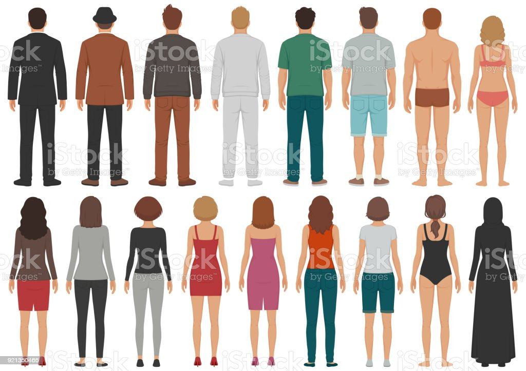 back view people group, man, woman standing characters, business  isolated person vector art illustration