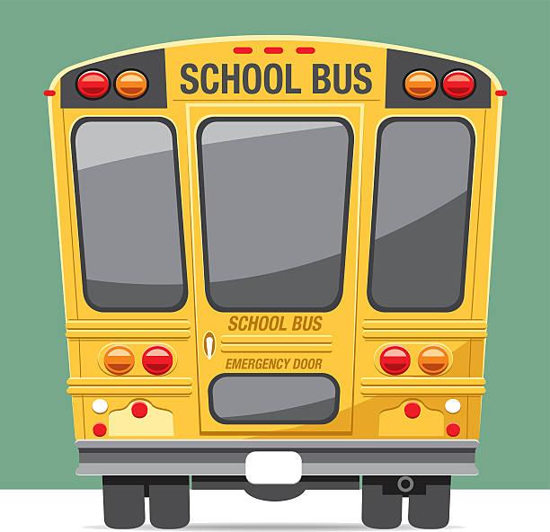back view school bus - スクールバス点のイラスト素材/クリップアート素材/マンガ素材/アイコン素材