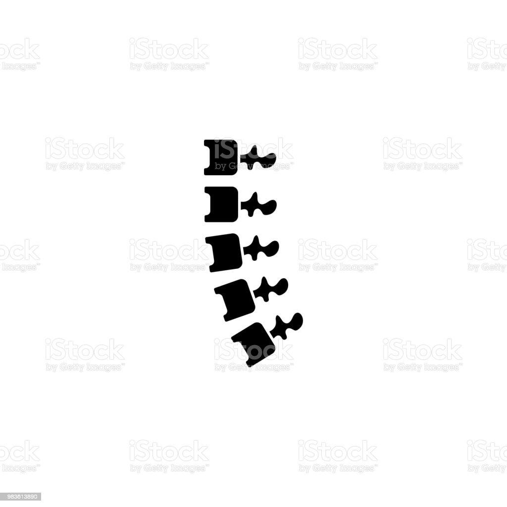 Rückgrat Schwarze Symbol Konzept Rückgrat Flache Vektor Symbol ...