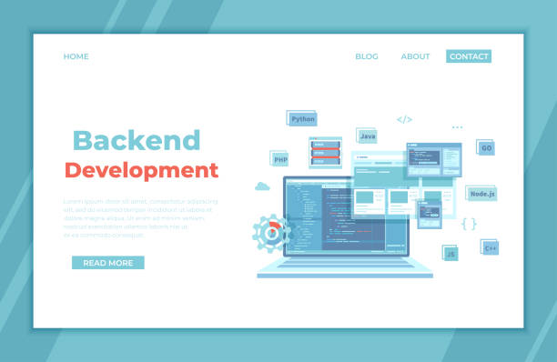 Backend Development, Coding, Software  Engineering, Programming languages. Program code on laptop screen, website template. landing page template or banner. Technology concept. Vector Backend Development, Coding, Software  Engineering, Programming languages. Program code on laptop screen, website template. landing page template or banner. Technology concept. Vector computer programmer stock illustrations