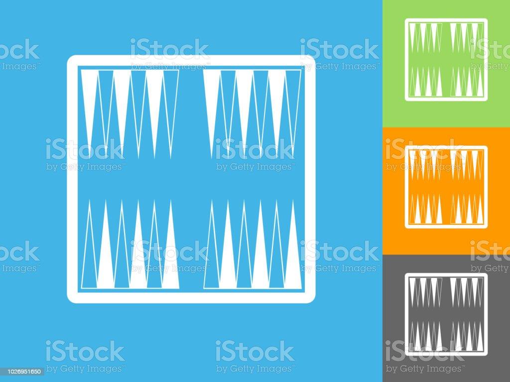 Backgammon Juego de mesa plana en fondo azul del icono - ilustración de arte vectorial