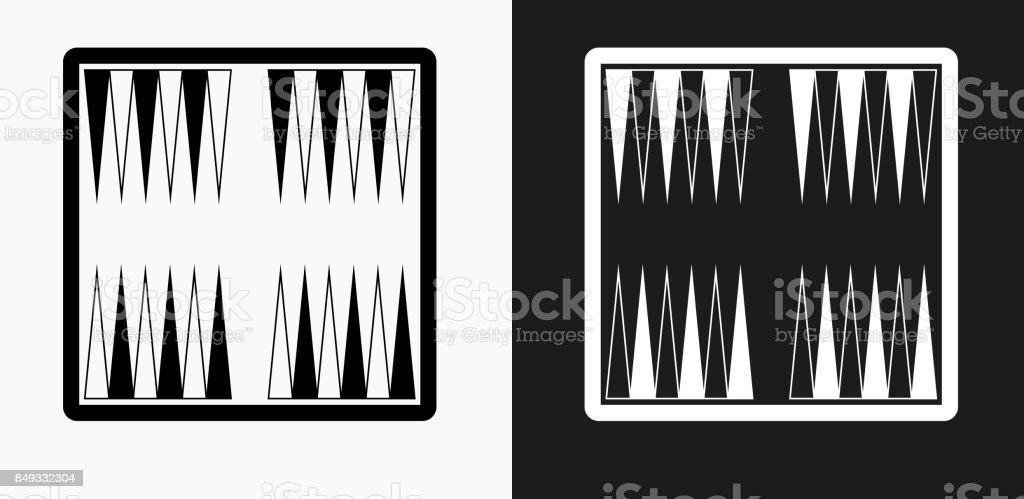 Backgammon Juego de mesa icono en blanco y negro Vector fondos - ilustración de arte vectorial