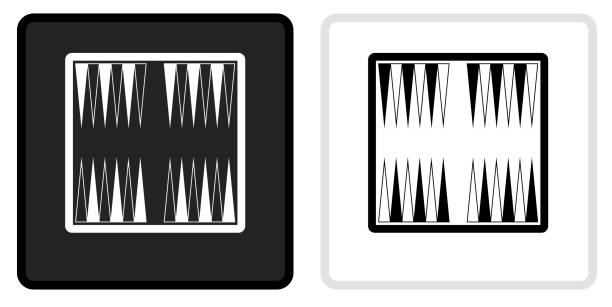 Backgammon Board Game Icon on  Black Button with White Rollover Backgammon Board Game Icon on  Black Button with White Rollover. This vector icon has two  variations. The first one on the left is dark gray with a black border and the second button on the right is white with a light gray border. The buttons are identical in size and will work perfectly as a roll-over combination. backgammon stock illustrations