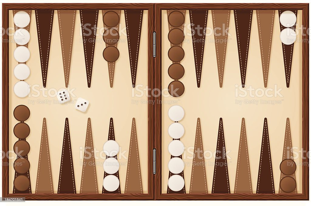 Backgammon board illustration with dice vektör sanat illüstrasyonu