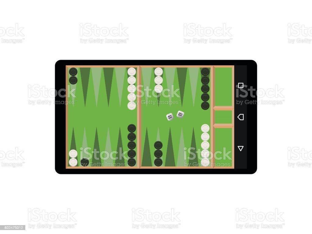 Juego de backgammon en vector de la aplicación de teléfono móvil - ilustración de arte vectorial