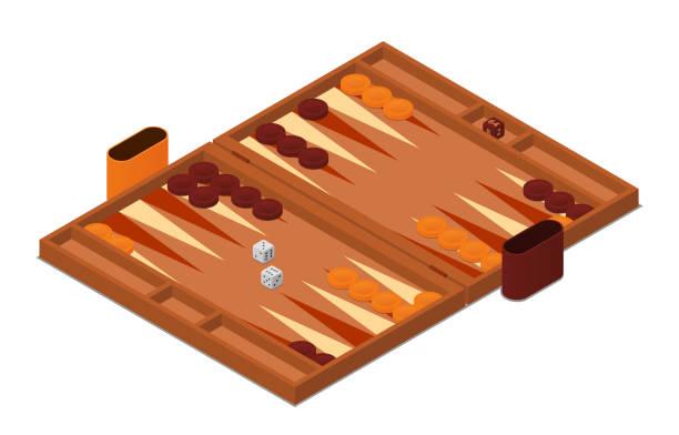 Backgammon game vector isometric illustration Backgammon game vector isometric illustration backgammon stock illustrations