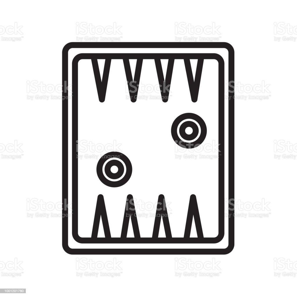 Backgammon icono vector de señal y símbolo aisladas sobre fondo blanco - ilustración de arte vectorial