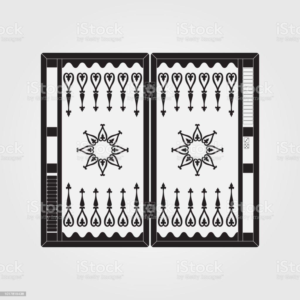 Backgammon en la caja de madera - ilustración de arte vectorial