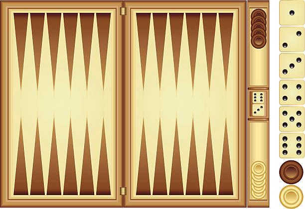 Backgammon Backgammon game material. Vector backgammon board. backgammon stock illustrations