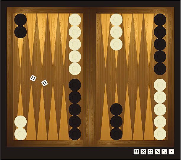 Backgammon with dice High detailed illustration of backgammon game with dice and checkers. backgammon stock illustrations