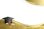Background abstract beige education graduation cap diploma red bow gold