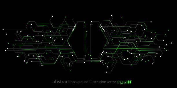 背景抽象幾何從六邊形條紋線圓圈的形式電路向量藝術插圖