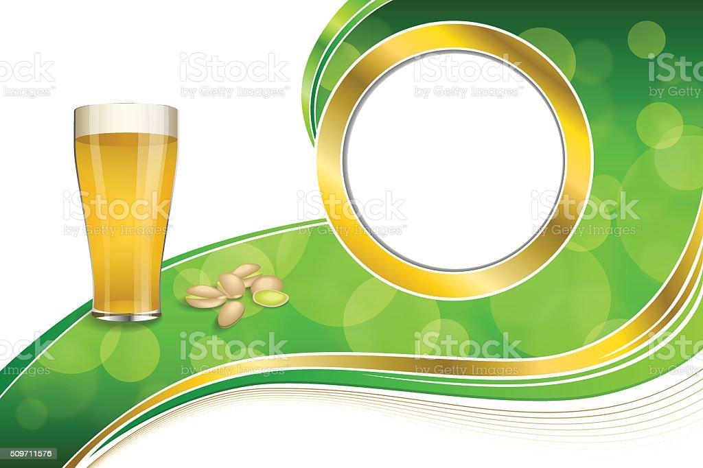Fondo Verde Resumen Oro Bebida Pistachos Círculo Marco De Vidrio De ...