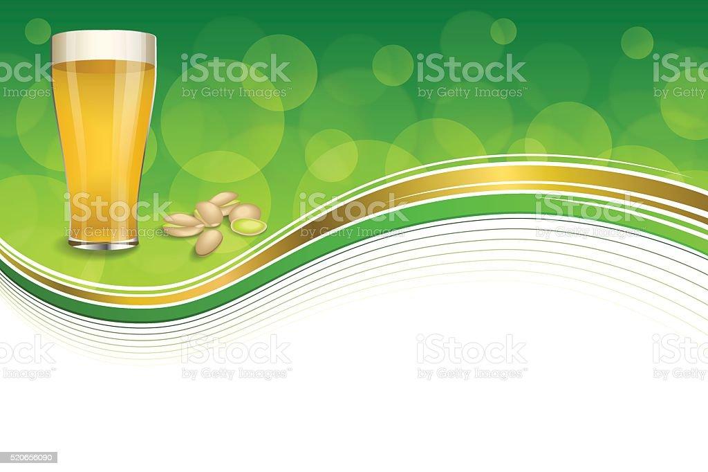 Sfondo Verde Astratto Oro Bere Bicchiere Di Birra Vettoriale