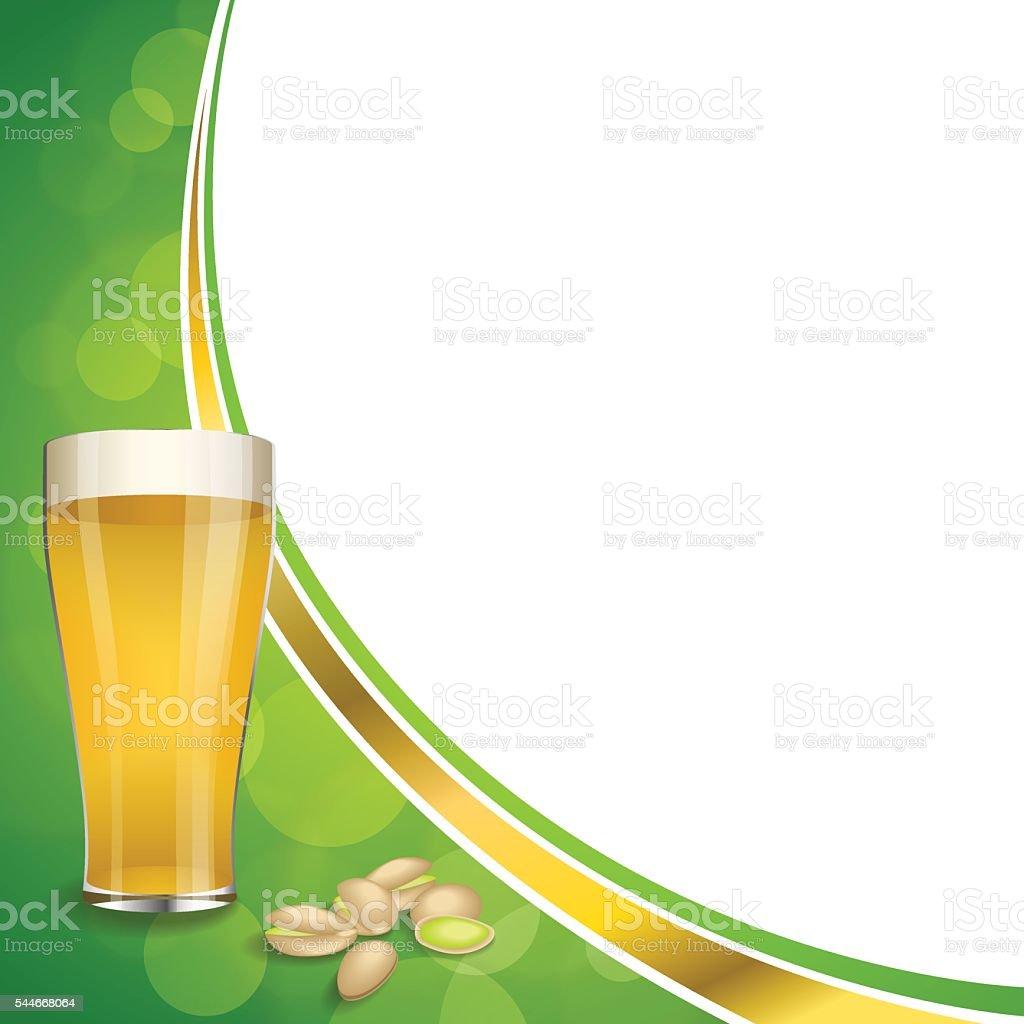 Sfondo Verde Astratto Oro Bere Bicchiere Di Birra Pistacchi