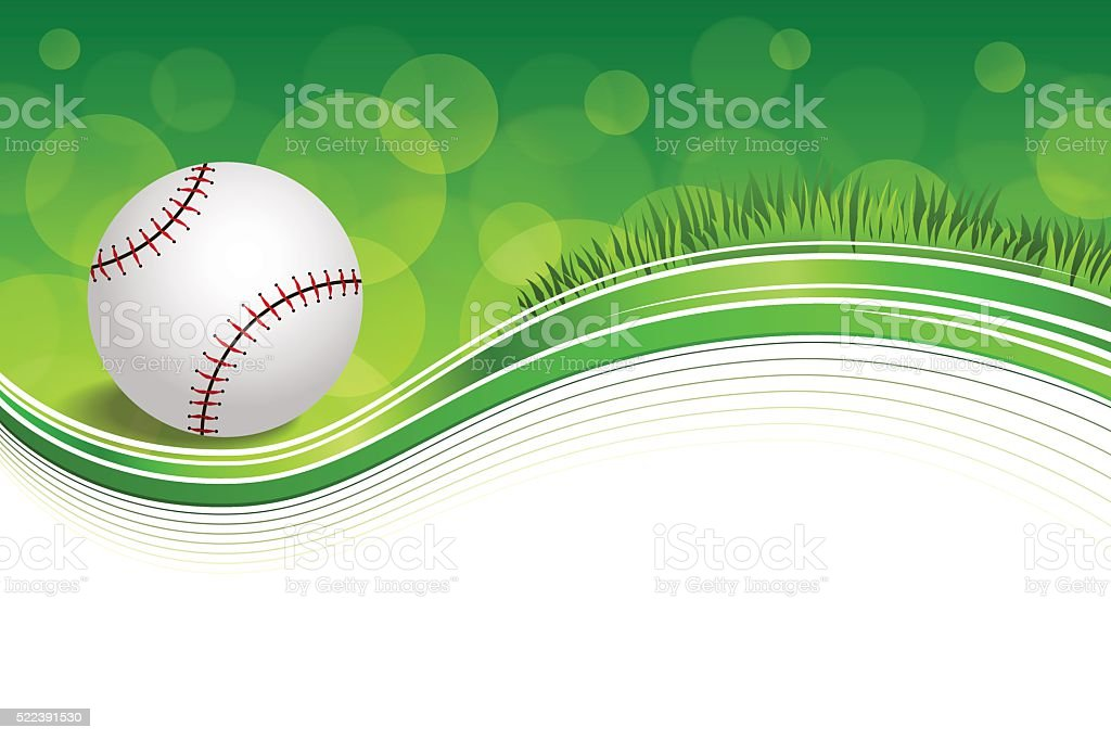 Background abstract green grass baseball ball frame illustration vector vector art illustration
