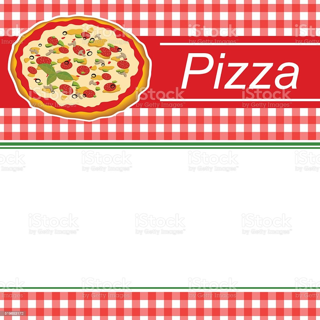 Background Abstract Red Menu Pizza Green Stripes Frame Illustration Vector Royalty Free