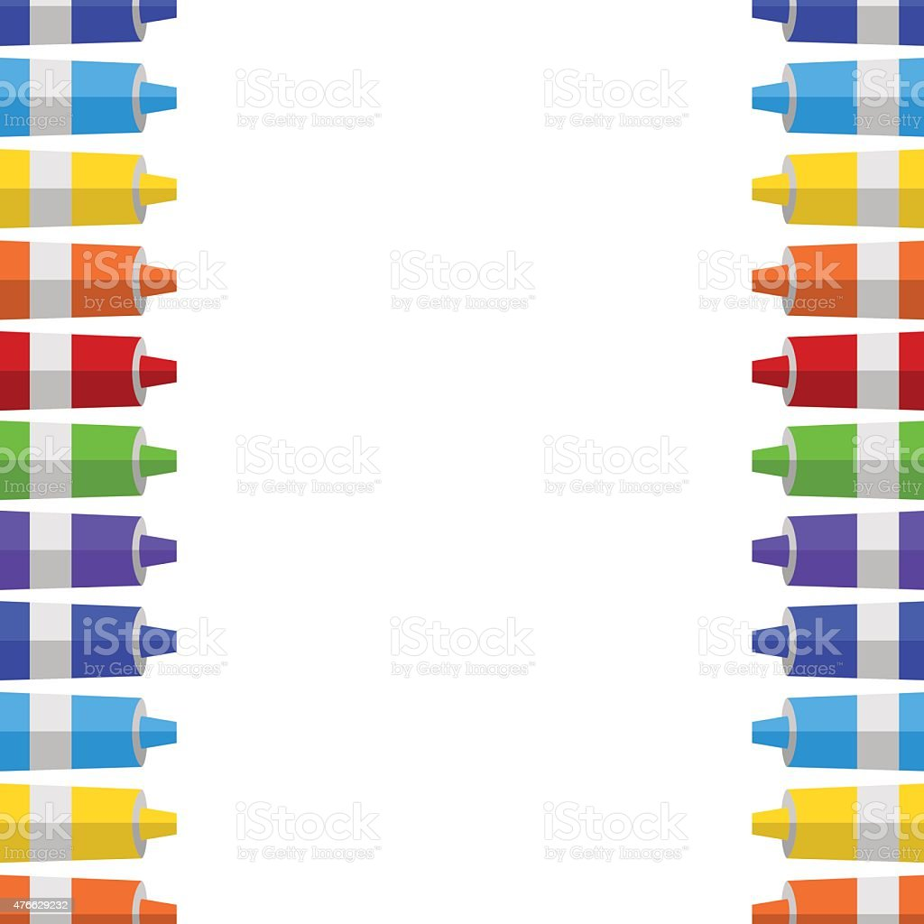background and border from tubes of paint. vector art illustration