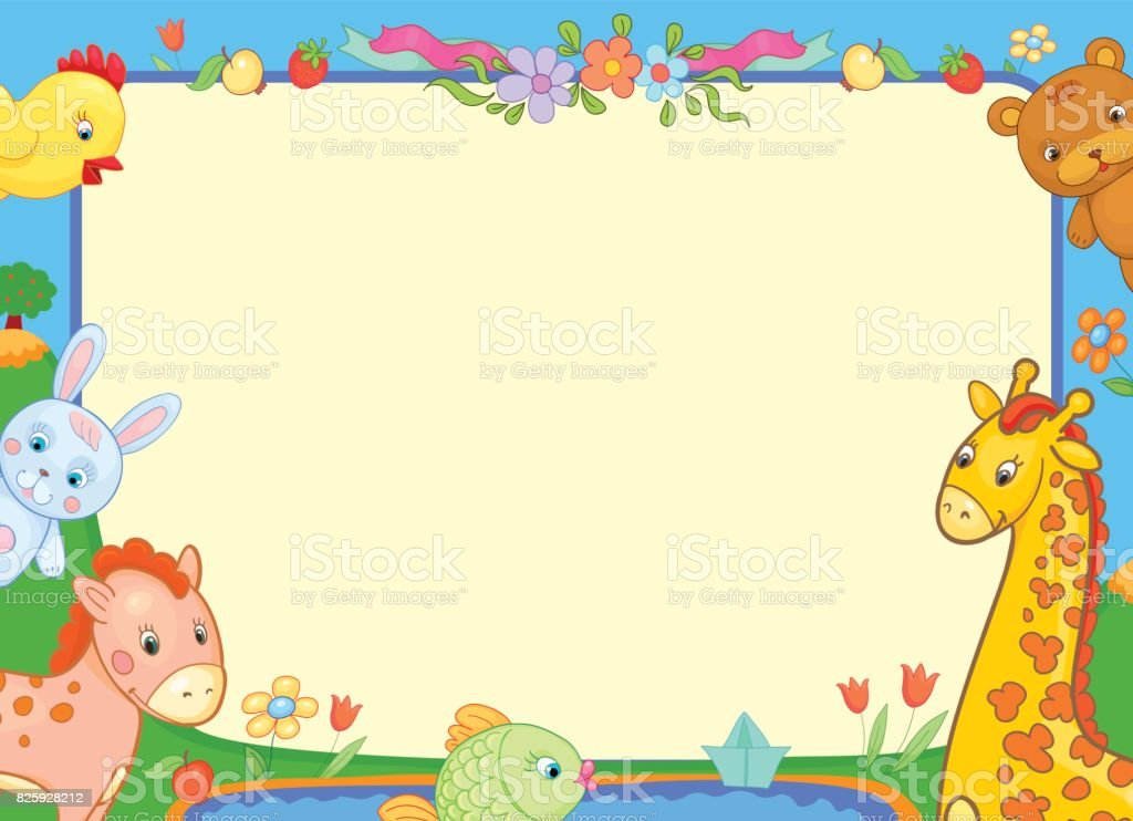 Background Banner With Animals For Kids Funny Illustration Flowers Royalty Free