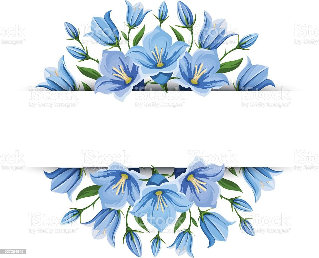 Background banner with bluebell flowers. Vector illustration. vector art illustration