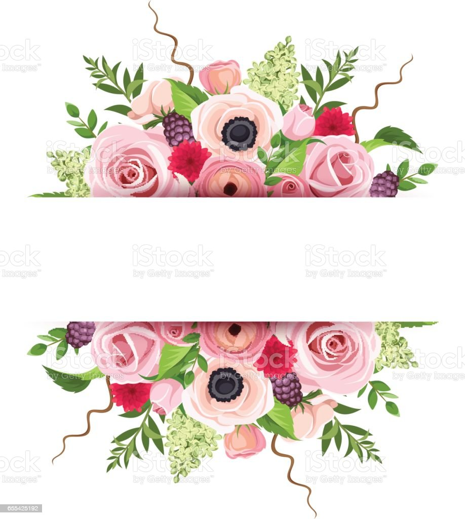Background banner with colorful flowers. Vector illustration. vector art illustration