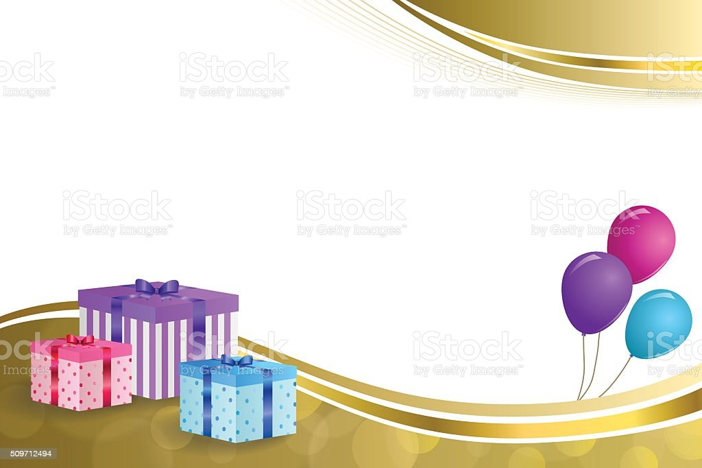 Background Beige Birthday Party Gift Box Pink Blue Balloons Gold Royalty Free Stock Vector Art