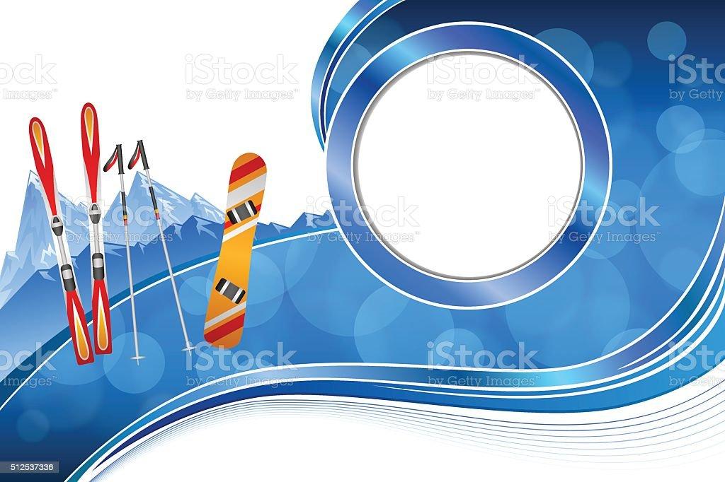 Ilustración de Fondo Azul De Esquí Snowboard Rojo Naranja Vector De ...