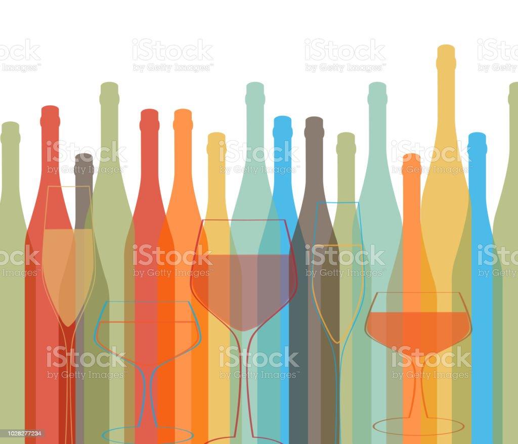 Background Bottle Vector Alcoholic vector art illustration