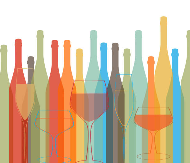 background bottle vector alcoholic - happy hour stock illustrations, clip art, cartoons, & icons