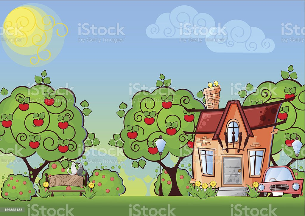 background cartoon house royalty-free stock vector art