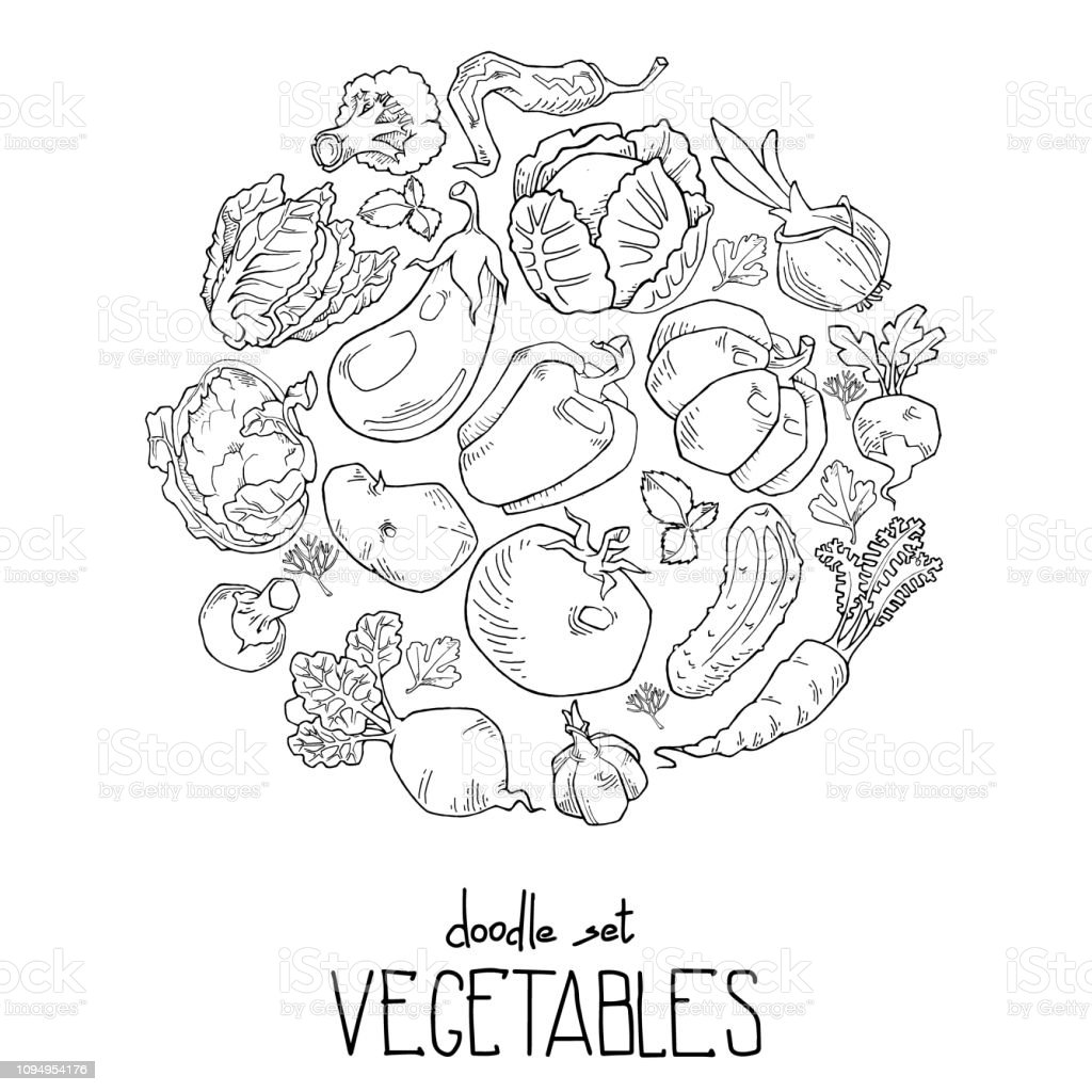Background contour consisting of vegetables and fruit icons arranged in a circle