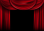Spotlight on stage curtain with stars. Vector.
