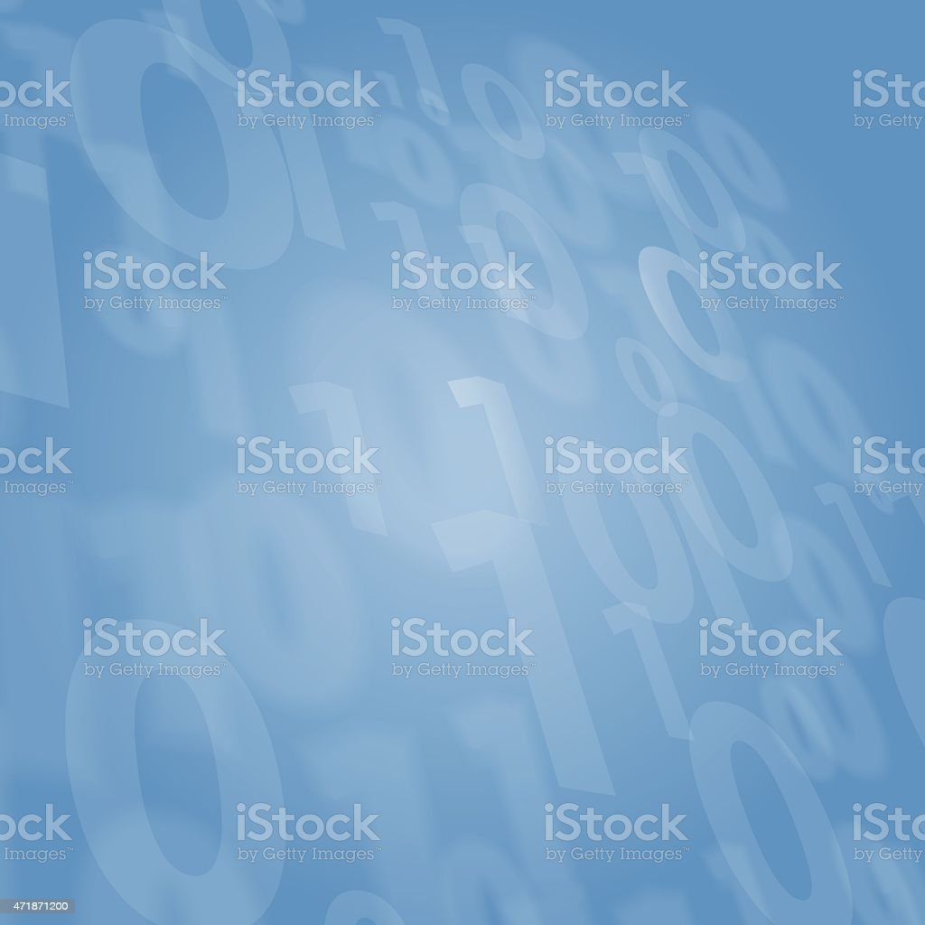 Background dark blue with binary numbers one and zero vector art illustration