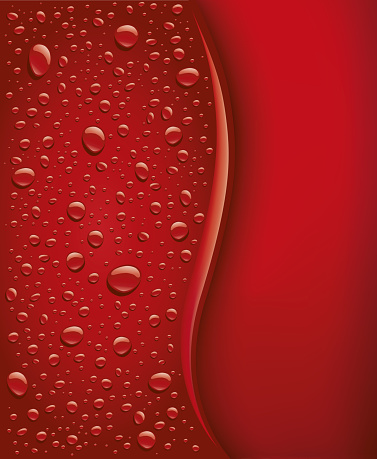 Background dark red water with many drops - Illustration