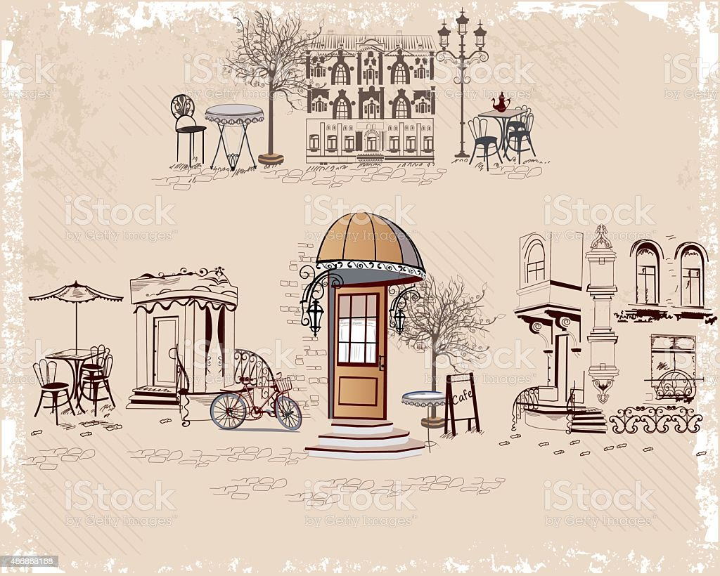 Background decorated with old town views and street cafes. vector art illustration