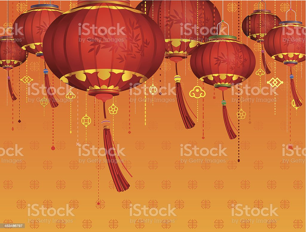 A background decorated with red Chinese new year lanterns vector art illustration