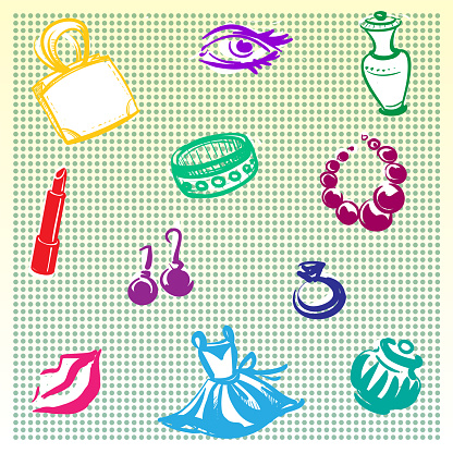 Background decorated with sketches on the theme of women's perfumes and jewelry