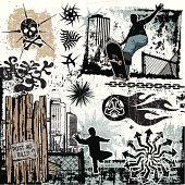 Background Design of Skateboarding, Graffiti and Skate Culture