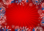 USA background design of star and fireworks on red background vector illustration