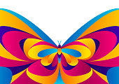 Background design with butterfly. Colorful bright abstract insect.