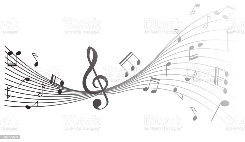 Background design with music notes vector art illustration